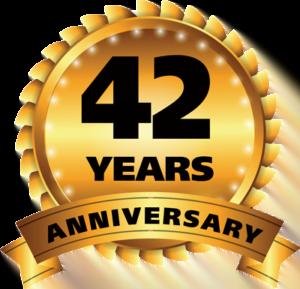42 years anniversary ribbon