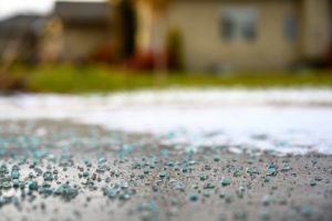 Blue road salt on road