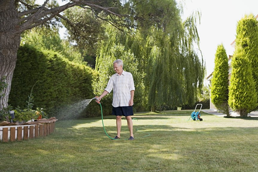 Man watering lawn with garden hose.